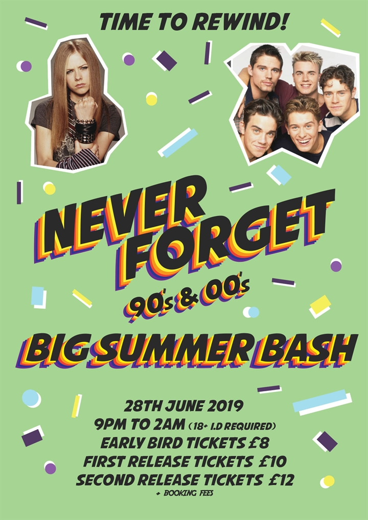 Never Forget – Relive the 90's & 00's – Big Summer Bash