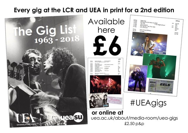 The UEA Gig List 1963-2018 Book